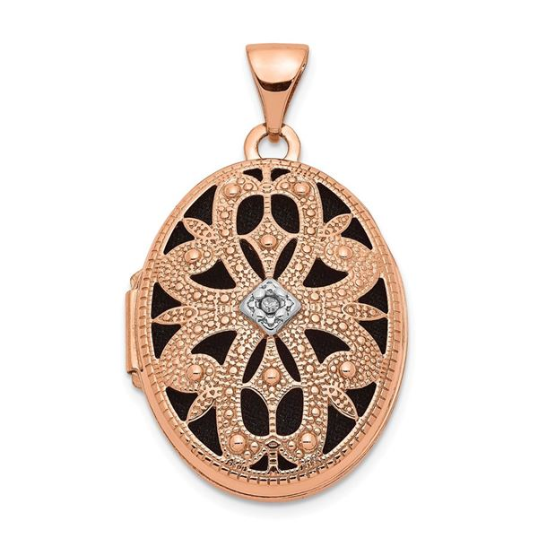 14k Rose Gold Oval w/Diamond Vintage blk interior Locket - 21 mm