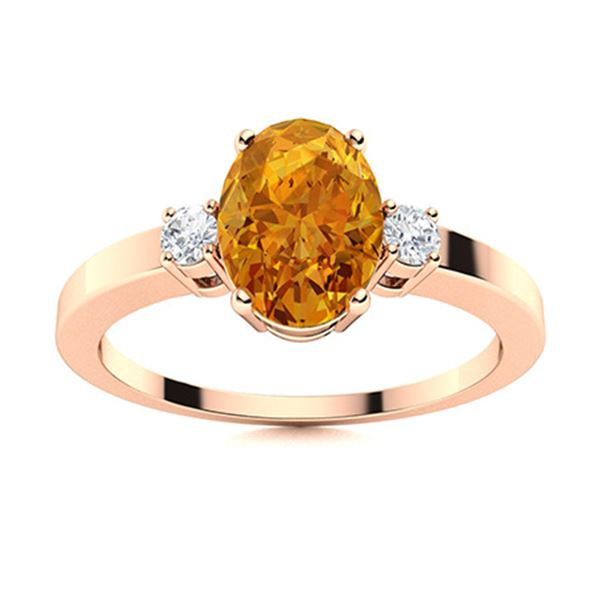 Natural 1.27 CTW Citrine & Diamond Engagement Ring 14K Rose Gold