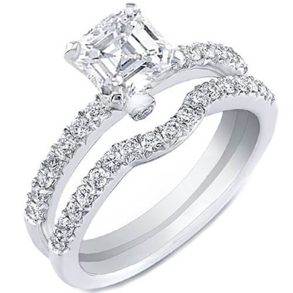 Natural 1.72 CTW Asscher Cut Diamond Ring 14KT White Gold