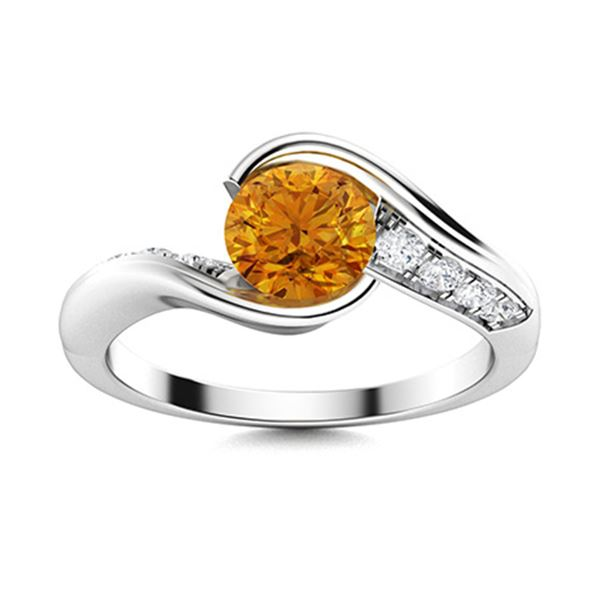 Natural 0.62 CTW Citrine & Diamond Engagement Ring 18K White Gold