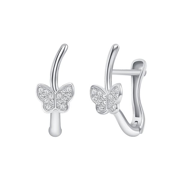Natural 0.17 CTW Butterfly Diamond Earrings 14KT White Gold