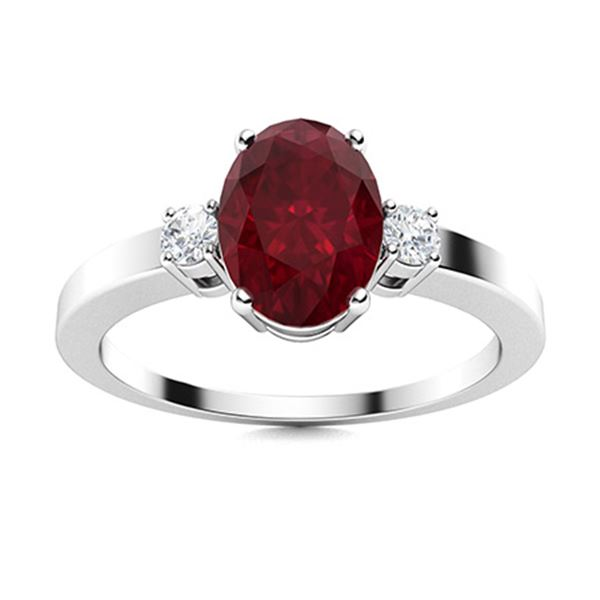 Natural 1.53 CTW Ruby & Diamond Engagement Ring 14K White Gold