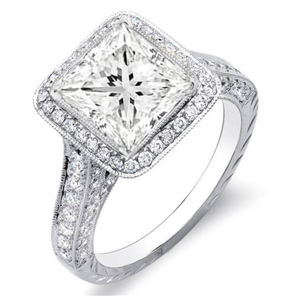 Natural 2.62 CTW Princess Cut Halo Diamond Engagement Ring 18KT White Gold