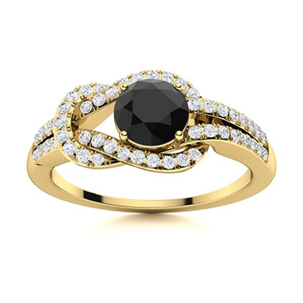 Natural 0.89 CTW Black & White Diamond Engagement Ring 14K Yellow Gold
