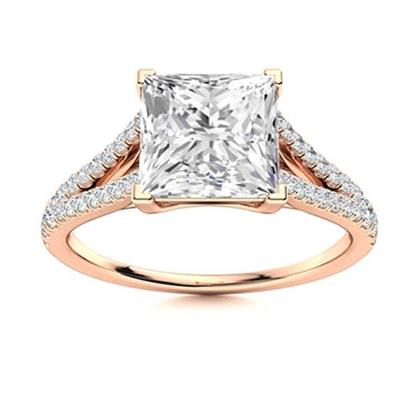 Natural 1.81 CTW Diamond Solitaire Ring 14K Rose Gold