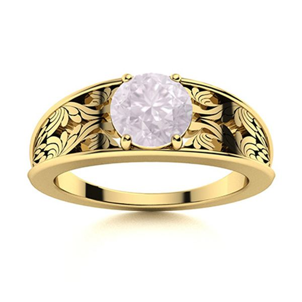 Natural 1.21 CTW Rose Quartz Solitaire Ring 14K Yellow Gold