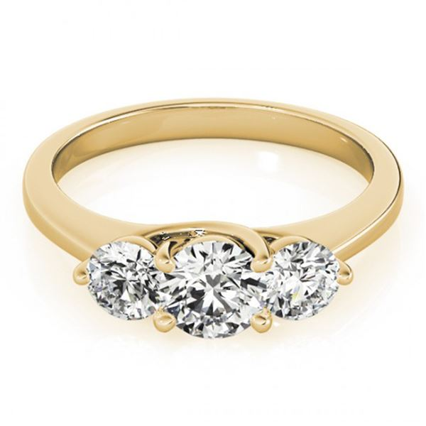 Natural 3 ctw Diamond 3 Stone Solitaire Ring 14K Yellow Gold