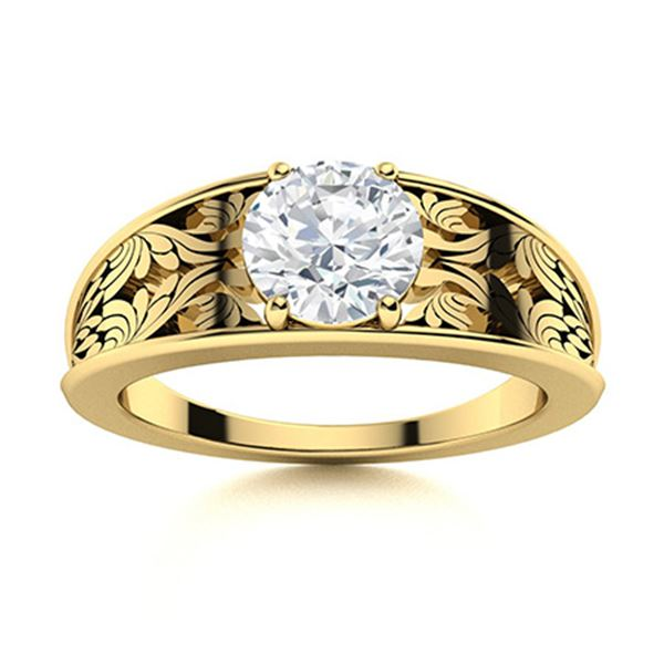 Natural 1.26 CTW Diamond Solitaire Ring 14K Yellow Gold