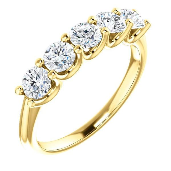 Natural 1.02 CTW Round Cut 5-Stone Diamond Ring 18KT Yellow Gold