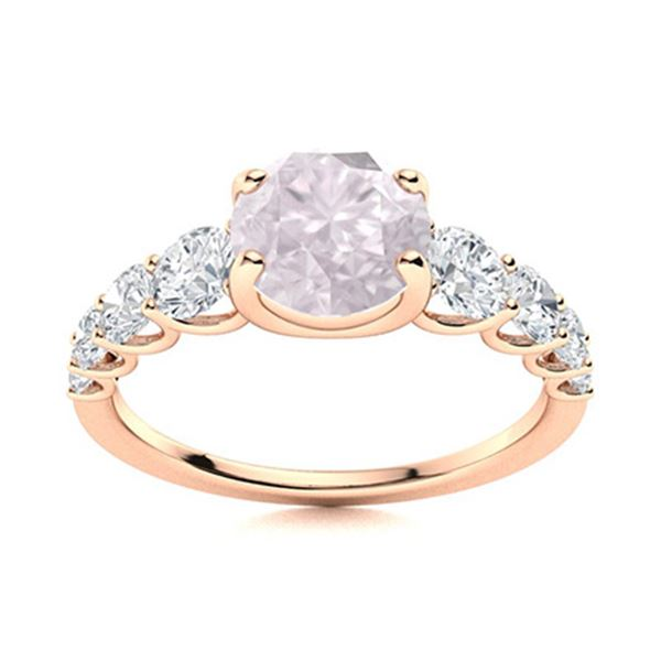 Natural 1.78 CTW Rose Quartz & Diamond Engagement Ring 18K Rose Gold