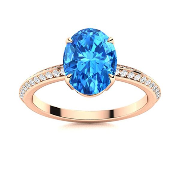 Natural 5.53 CTW Topaz & Diamond  Engagement Ring 14K Rose Gold