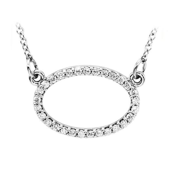 Natural 0.15 CTW Oval Diamond Pendant Necklace 14KT White Gold