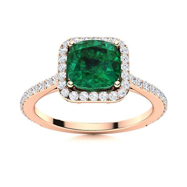 Natural 1.16 CTW Emerald & Diamond Engagement Ring 14K Rose Gold