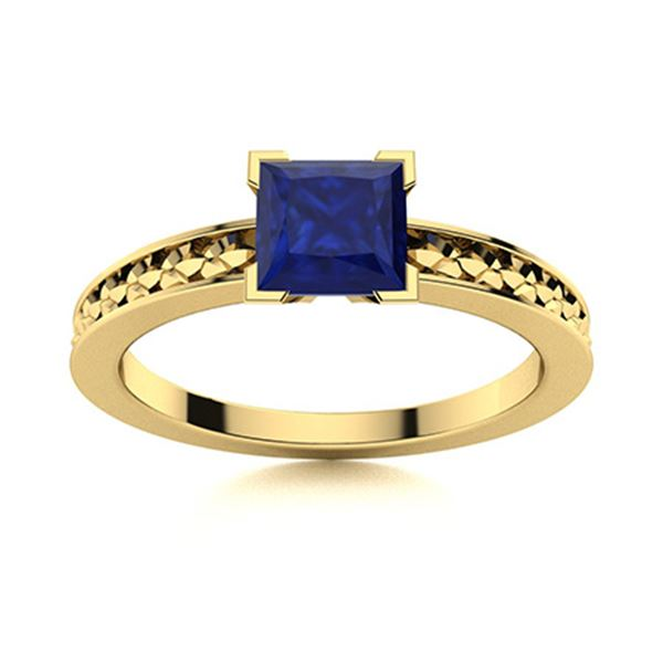 Natural 0.67 CTW Sapphire Solitaire Ring 18K Yellow Gold