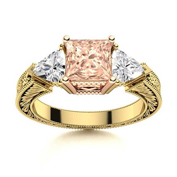 Natural 1.81 CTW Morganite & Diamond Engagement Ring 14K Yellow Gold