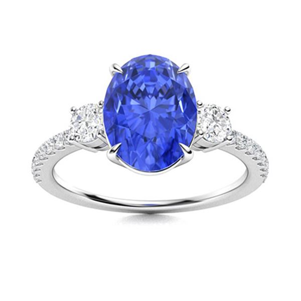 Natural 2.30 CTW Ceylon Sapphire & Diamond Engagement Ring 14K White Gold