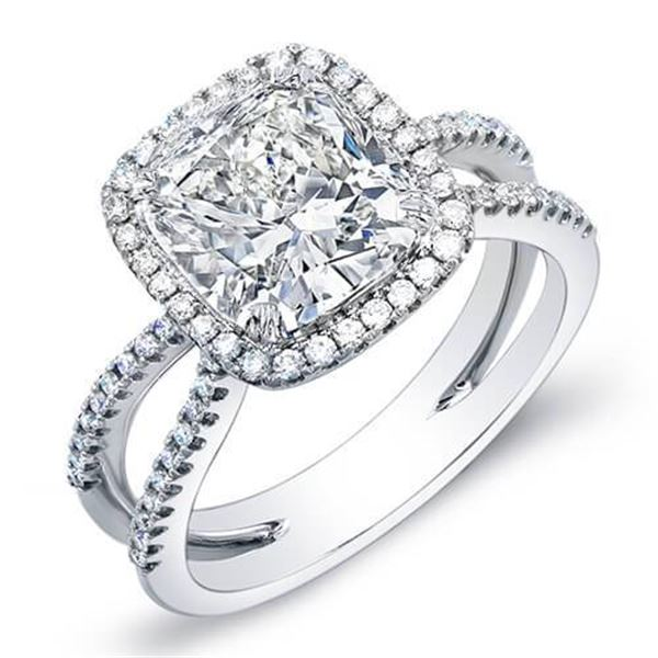 Natural 3.82 CTW Halo Cushion Cut Split Shank Diamond Engagement Ring 14KT White Gold
