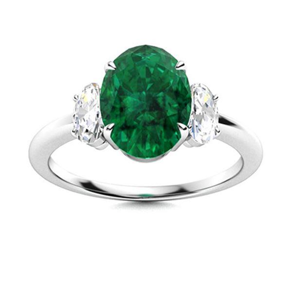 Natural 2.19 CTW Emerald & Diamond Engagement Ring 18K White Gold