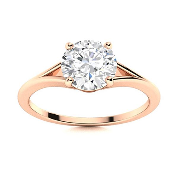 Natural 1.27 CTW Diamond Solitaire Ring 18K Rose Gold