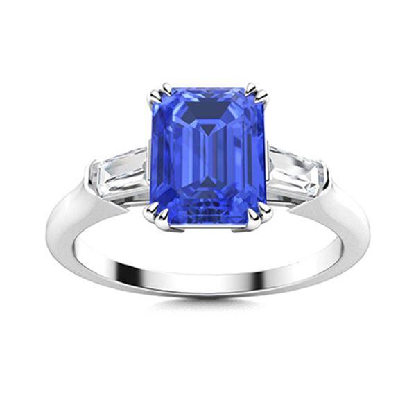 Natural 1.31 CTW Ceylon Sapphire & Diamond Engagement Ring 14K White Gold