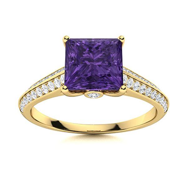 Natural 1.13 CTW Amethyst & Diamond Engagement Ring 14K Yellow Gold