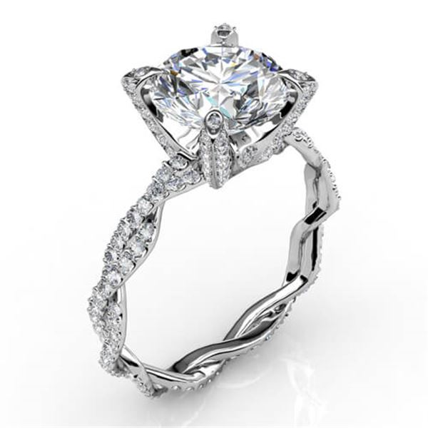 Natural 3.57 CTW Round Cut Diamond Infinity Engagement Ring 18KT White Gold