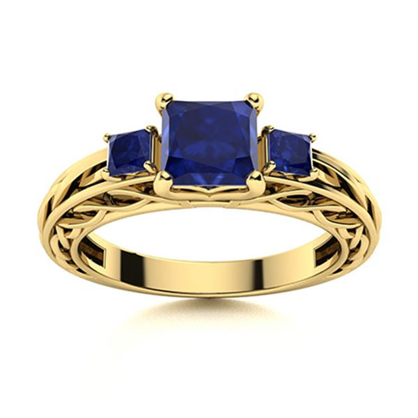 Natural 1.23 CTW Sapphire Solitaire Ring 18K Yellow Gold