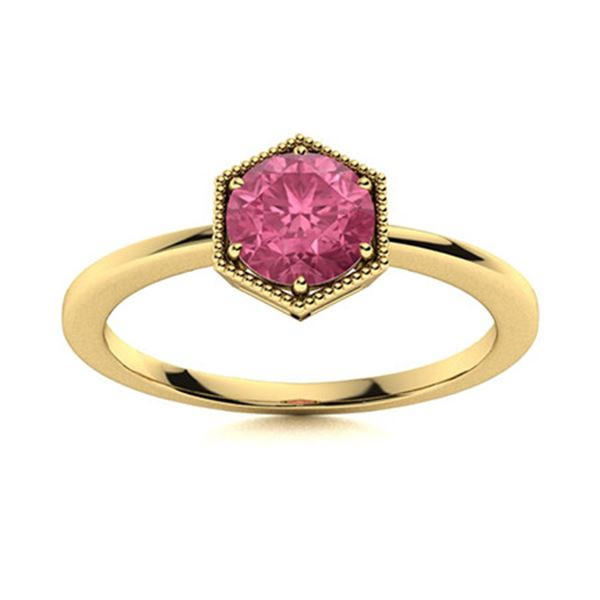 Natural 1.21 CTW Tourmaline Solitaire Ring 14K Yellow Gold