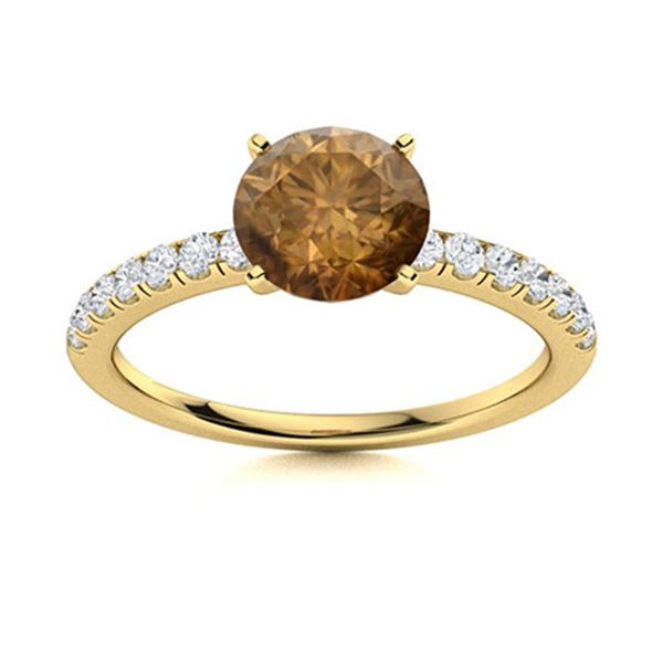 Natural 1.06 CTW Brown & White Diamond Engagement Ring 14K Yellow Gold