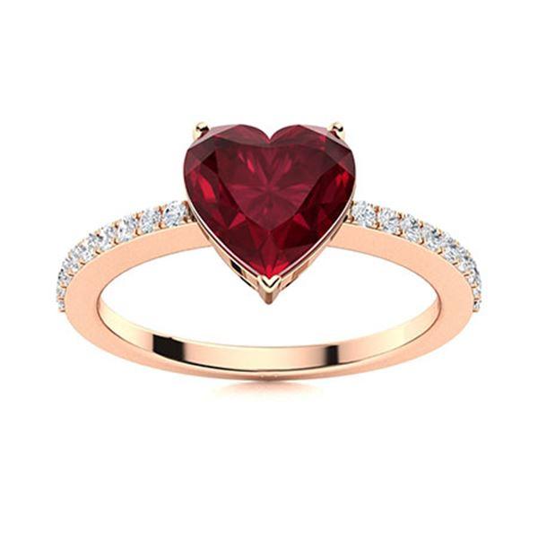 Natural 1.26 CTW Ruby & Diamond Engagement Ring 18K Rose Gold