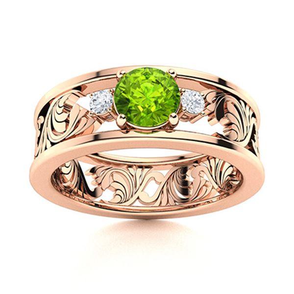 Natural 0.48 CTW Peridot & Diamond Engagement Ring 18K Rose Gold