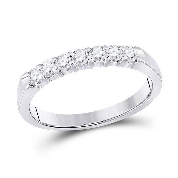 14kt White Gold Womens Round Diamond Single Row Band Ring 1/3 Cttw