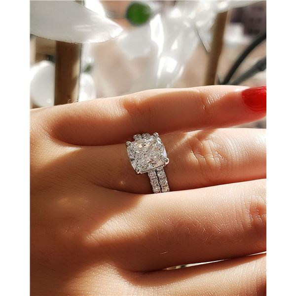 Natural 2.82 CTW Cushion Cut Diamond Engagement Ring 18KT White Gold