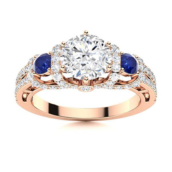 Natural 1.86 CTW Diamond & Sapphire Engagement Ring 14K Rose Gold