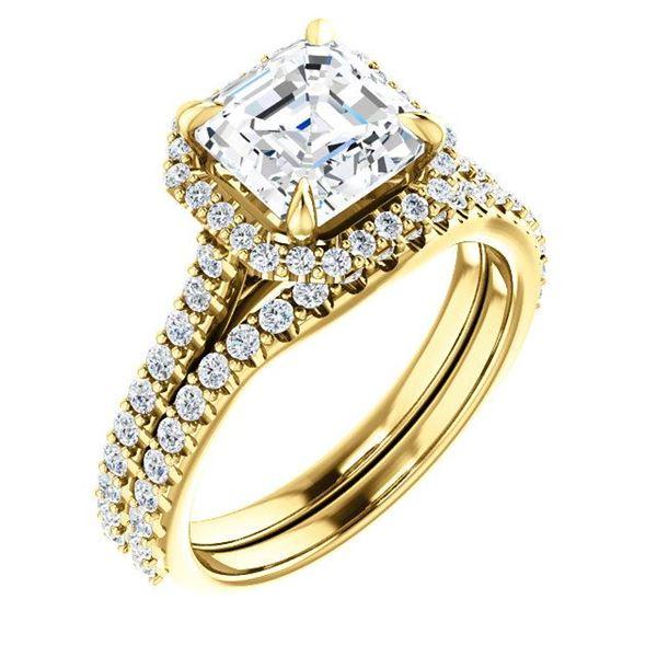 Natural 2.22 CTW Asscher Cut Halo Diamond Engagement Ring 14KT Yellow Gold