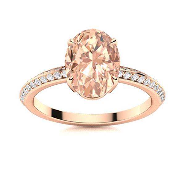 Natural 4.51 CTW Morganite & Diamond Engagement Ring 18K Rose Gold