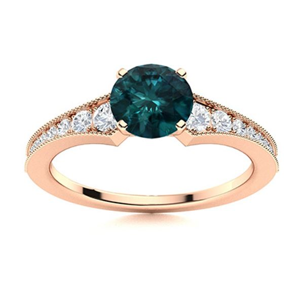 Natural 1.06 CTW Blue & White Diamond Engagement Ring 18K Rose Gold