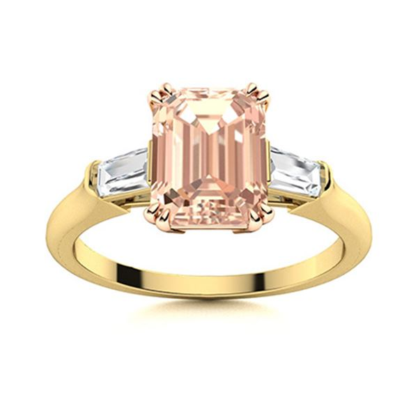 Natural 2.22 CTW Morganite & Diamond Engagement Ring 18K Yellow Gold
