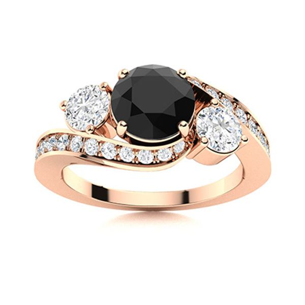 Natural 1.51 CTW Black & White Diamond Engagement Ring 14K Rose Gold