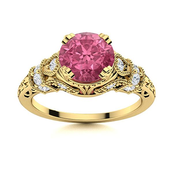 Natural 1.65 CTW Pink Sapphire & Diamond Engagement Ring 14K Yellow Gold