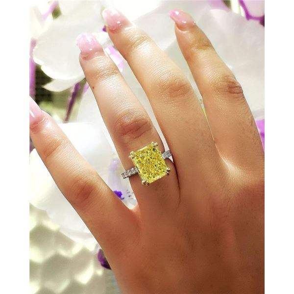 Natural 8.87 CTW Radiant Cut Light Yellow Diamond Engagement Ring 14KT Two-tone