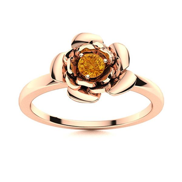 Natural 0.11 CTW Citrine Solitaire Ring 14K Rose Gold