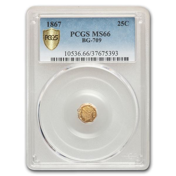 1867 Liberty Octagonal 25 Cent Gold MS-66 PCGS (BG-709)