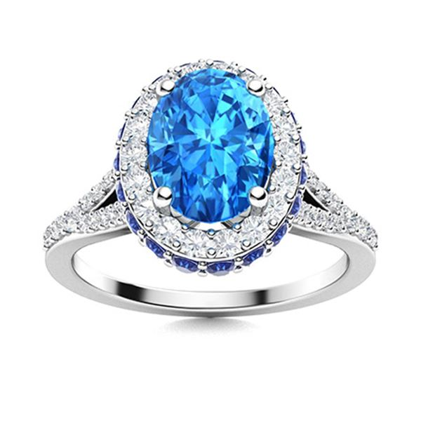 Natural 2.13 CTW Topaz, Sapphire & Diamond Engagement Ring 18K White Gold