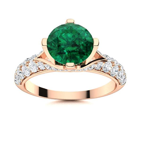 Natural 1.83 CTW Emerald & Diamond Engagement Ring 14K Rose Gold