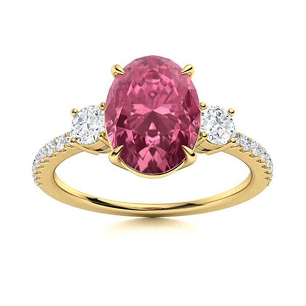 Natural 2.40 CTW Tourmaline & Diamond Engagement Ring 18K Yellow Gold