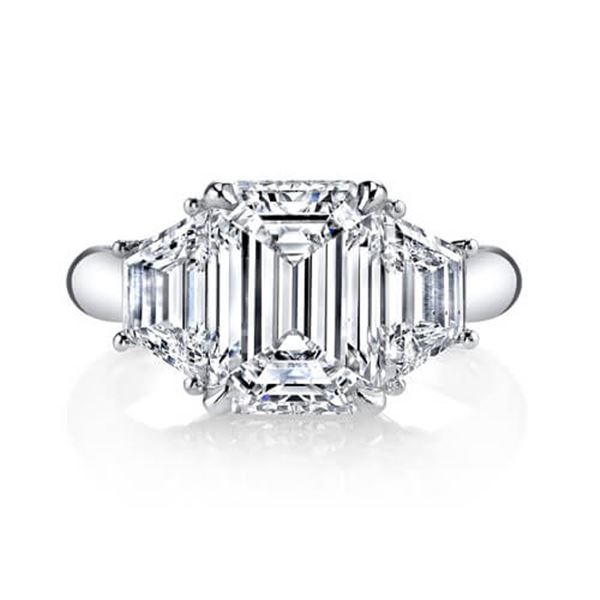 Natural 2.02 CTW Emerald Cut & Trapezoid 3-Stone Diamond Ring 14KT White Gold