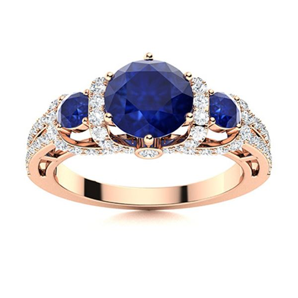 Natural 2.16 CTW Sapphire & Diamond Engagement Ring 14K Rose Gold