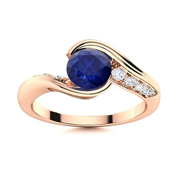 Natural 1.52 CTW Sapphire & Diamond Engagement Ring 18K Rose Gold
