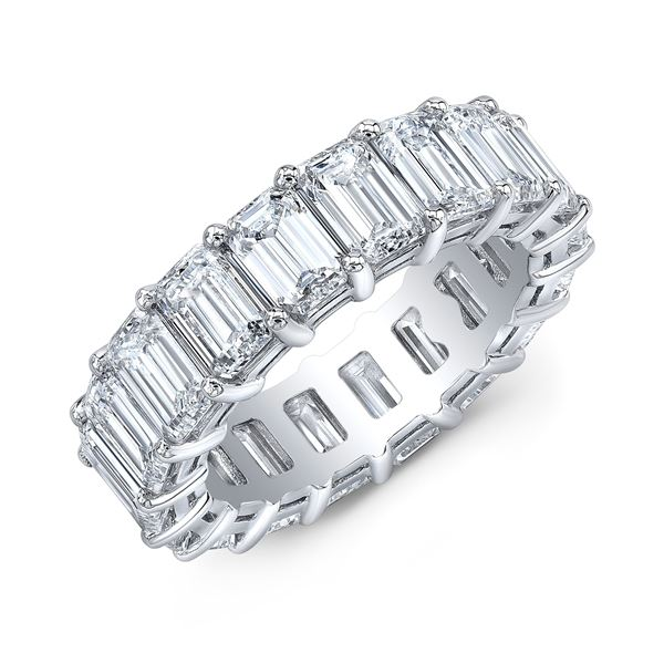 Natural 10.52 CTW Emerald Cut Diamond Eternity Ring 18KT White Gold